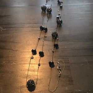 """Jewelry - 48"""" long black beaded necklace"""